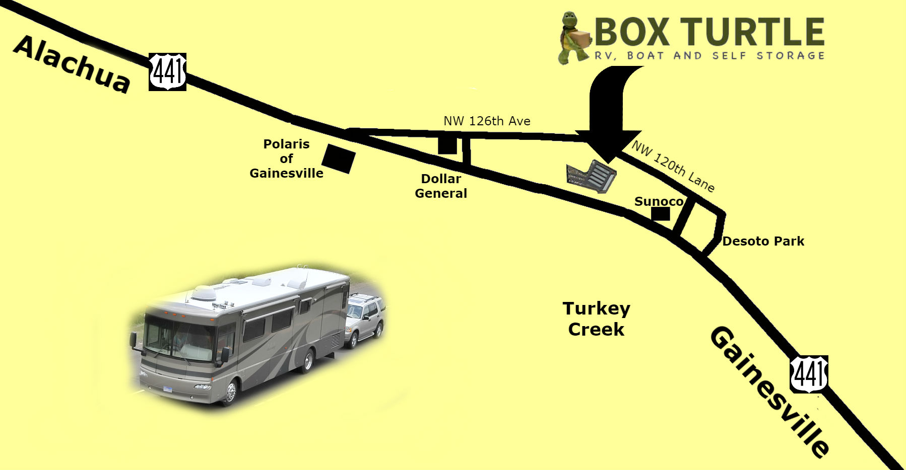 Serving Alachua and Gainesville, on 120th lane, north and parallel to hwy 441, between the Dollar store and Sunoco