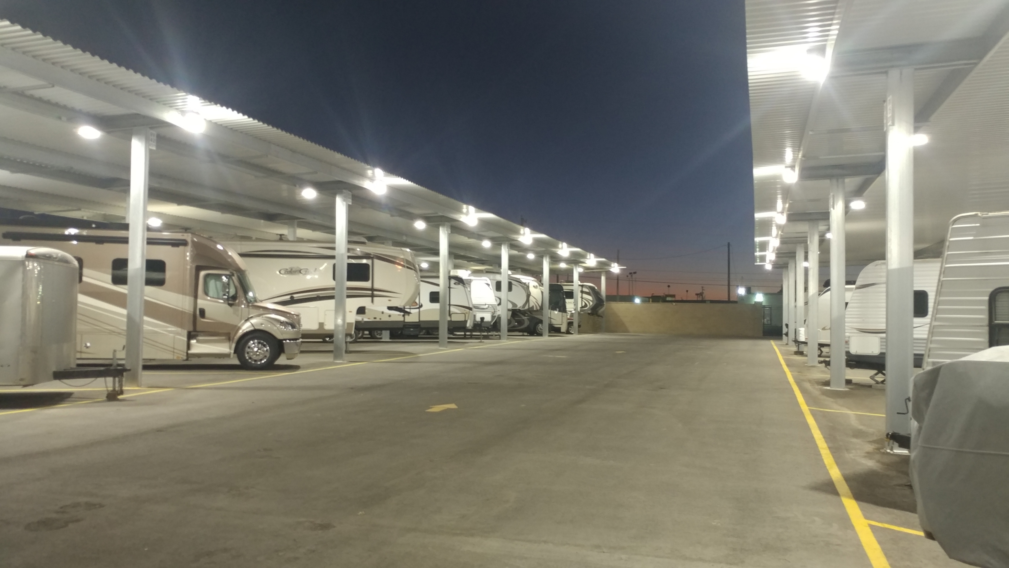 Lights In Our Covered RV Parking Keep Your RV Secure